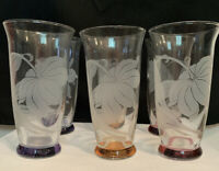 6 Vintage Antique MCM Etched Frosted Hibiscus Flash Rainbow Glass Tumblers 1950s