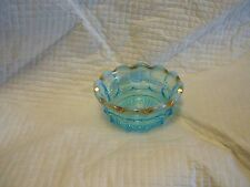 Blue Opalescent Northwood Bowl Gold Accents