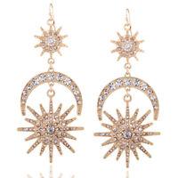 Women Crystal Rhinestone Moon & Sun Statement Jewelry Big Long Drop Earrings