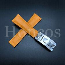 LEATHER BAND STRAP FOR ROLEX DAYTONA 16520 116518 ORANGE REGULAR STEEL CLASP