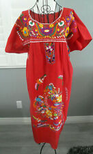 Vintage Red Peasant Peacock Ethnic Pueblo Boho Bohemian Embroidered Dress L XL