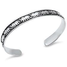 Plain Symbol of Good Luck Elephant Bangle .925 Sterling Silver Bracelet