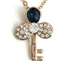 "Sapphire Blue Diamond Key Pendant Charm Necklace 14K Rose Gold Plated 18"" YBP21"