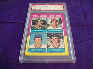 1975 TOPPS #623 ROOKIE INFIELDERS WITH KEITH HERNANDEZ PSA 8