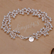 "18K White Gold Filled Hypo-Allergenic 7.5"" 5mm Small Bead Chain Bracelet Z330"