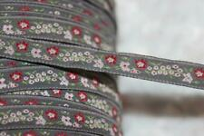 """10 yards gray red white mint woven jacquard sewing trim ribbon 1/2"""" wide w22"""