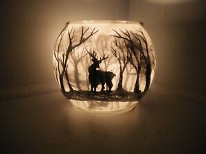 One Candle Holders Glass Vase Hand Painted full Moon forest dear Tea Light gift