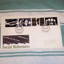 SOCIAL REFORMERS 8.5p 10p 11p 13p FDC 28 APR 1976 MLO REDHILL FDI SHS + INSERT