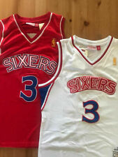 NEW Allen Iverson #3 Mens Rookie Philadelphia 76ers WHITE / RED Throwback Jersey