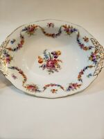 Epiag China Czechoslovakia 9954 White Floral Swag Oval Serving Bowl W/ Gold Rim
