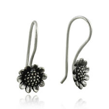 Sunflower Earrings 925 Sterling Silver French Hook Ear Wires Flowers Gift NEW