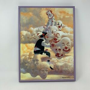 """Robert Owen Framed Signed Clowns in Clouds Hand Stitched 12"""" x 16"""""""