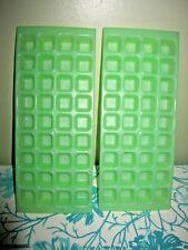 "2 Vintage Jadite green Ice Maker Mold 36 Grids Mini 1"" Ice Cube Trays Frozen"