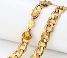 """9ct 9K Yellow """"Gold Filled"""" Men,s Heavy Curb 24"""" Chain Necklace W=10mm, """"Gift"""