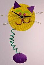 Yellow & Purple Mechanical Cat Analog Wall Clock