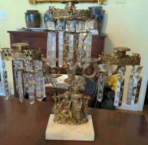 Antique Girandole Three Light Candleholder Cast Brass Glass & Marble