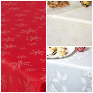 "CHRISTMAS TABLECLOTHS 137cm (54"") Round SEASONAL DESIGNS Snowflake Star Bauble"