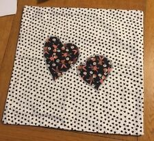 """Cushion Covers 40cm 16"""" Black white Heart Design Home Made Unused Cotton Folksy"""