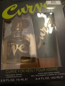 Curve For Men 2 Pc Gift Set 2.5 oz Cologne and 3.4 oz Hair & Body  - See Below