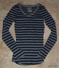NEW NWOT Trendy Long Gray & Blue Striped Jr XL 15 / 17 Stretchy Cotton Shirt