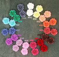 20mm Colorful Resin Rose Flowers Cabochons 15 Colors Cameo Flat Back P227 (5pcs)