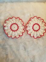 Vintage Hand Crochet Cotton Lace Doilies Set of 2 White Red Trim Coasters Tea  C
