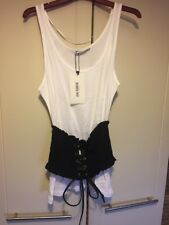 Zara Sleeveless White Tshirt Top With Corset Black BNWT Size S