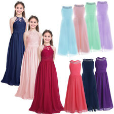 Girls Kids Princess Formal Wedding Bridesmaid Birthday Gown Long Dress Aged 4-14