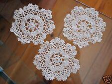 "Wedding Bridal Decor 3 Small Flora Pattern Hand Crochet Cotton Doilies  4"""