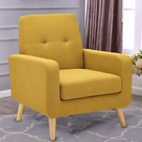 Modern Tufted Accent Arm Chair Single Sofa Linen Fabric Upholstered Home Yellow