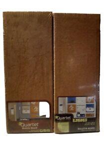 Pair Of Quartet Modular Natural Frameless Bulletin Board, 5.5 x 14 Inches, Cork