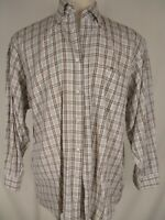 Luciano Barbera Mens Beige Plaid Long Sleeve Cotton Shirt XXL Italy Made
