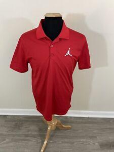 Nike Air Jordan Dri-Fit Jumpman Polyester Golf Polo Red Men's Medium