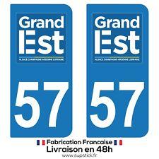 2 STICKERS AUTOCOLLANT PLAQUE IMMATRICULATION DEPT 57 Région Grand Est
