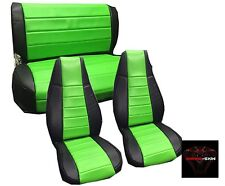Jeep Wrangler YJ Green Custom Seat Covers Front & Rear Syn Leather Perfect Fit