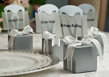 100 x SILVER Chair Bomboniere Favour Boxes / Place card Favor