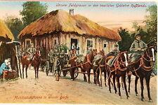 24644 AK Feldgrauen in Russland Munitionskolonne in einem Dorf Ostfront 1918