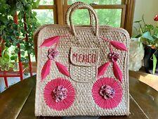 Vintage Mexico Raffia Rattan Straw Wicker Woven Purse Tote Beach Bag Pink Mexico