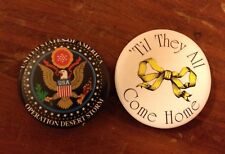 2 Military Pinbacks Usa Operation Desert Storm 'Til They All Come Home Vtg Pins