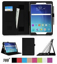 Samsung Galaxy Tab A 9.7 Leather Case Stand Hand Strap Card Slots Pen Holder New
