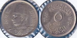 Egypt 1941(1360) 5 milliemes Farouk I CU-NI KM-363 BUNC #107 - US Seller
