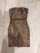 New Dress the Population Sequin Strapless Body Con Dress Antique Gold Copper XS