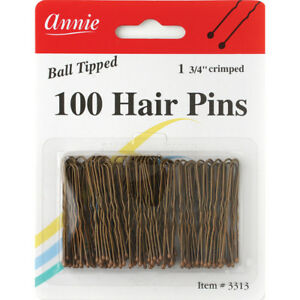 "ANNIE 100 HAIR PINS 1 3/4"" CRIMPED BALL TIPPED #3313 BRONZE"