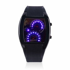 RPM Speedometer Car Turbo Speed Gauge Odometer Black Silicone Digital LED Watch
