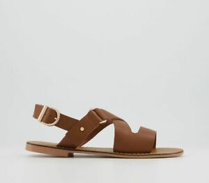 Womens Office Scarlet Cross Strap Sandals Tan Leather Sandals