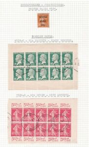 France. Paris Precancel,  Booklet Panes, and Gutter Pairs. TWO PAGES.  Used.