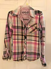 Girls Clothing Pretty MUDD Pink Black White Check Plaid Blouse Shirt Top Size 10