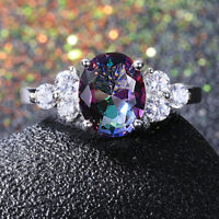 Fashion 925 Silver Oval Mystic Topaz Gemstone Birthstone Jewelry Ring Wholesale!