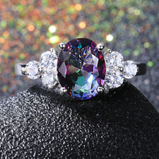 925 Silver 8 * 10 MM Oval Mystic Topaz Gemstone Gem Birthstone Ring Jewelry 7