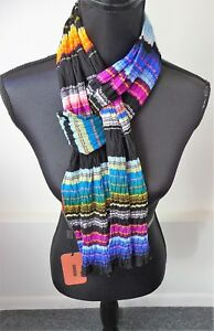 Missoni NWT Colorful Striped Oblong Viscose Scarf Saks Fifth Ave Retail $495
